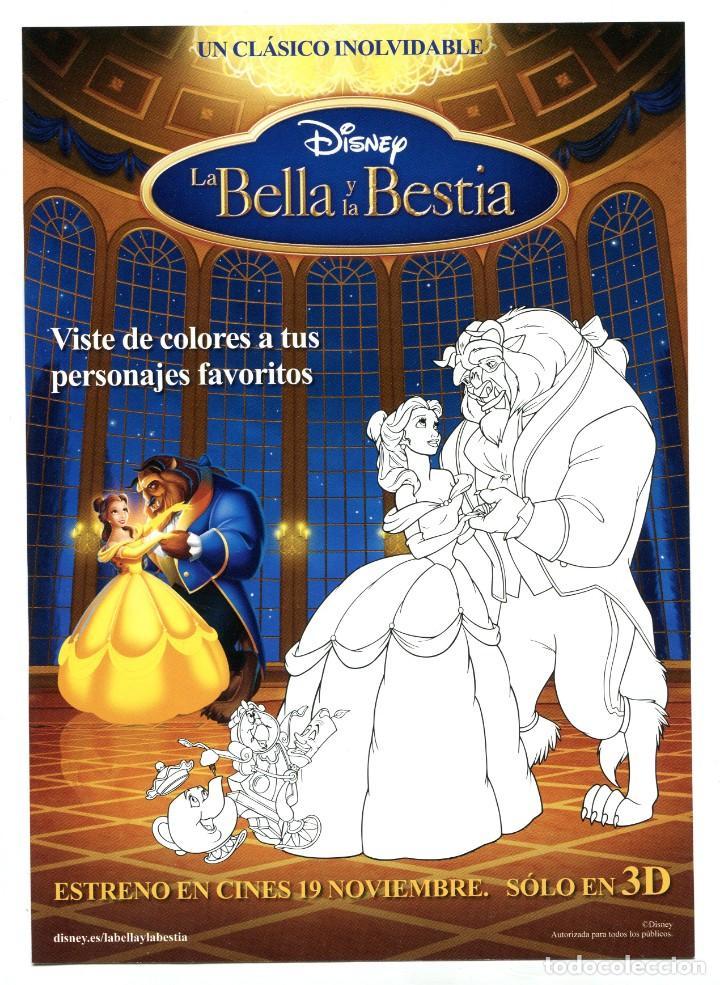 LA BELLA Y LA BESTIA, DE DISNEY. 15 X 21 CMS. (Cine - Folletos de Mano - Infantil)