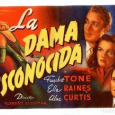 Cine: LA DAMA DESCONOCIDA, CON FRANCHOT TONE. C/I.. Lote 136285522