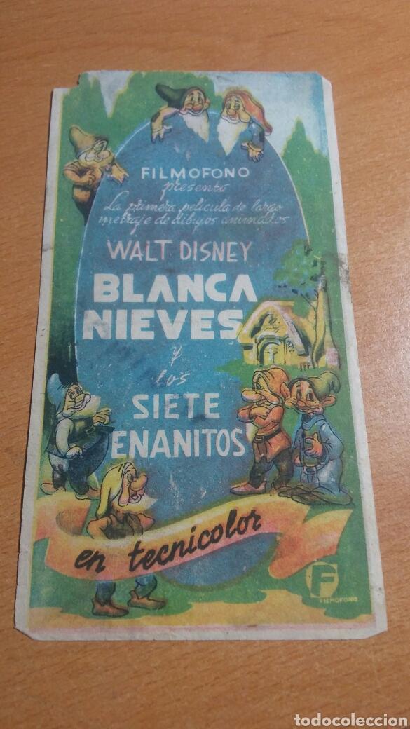 PROGRAMA DE CINE CON PUBLICIDAD BLANCA NIEVES Y LOS SIETE ENANITOS (Cine - Folletos de Mano - Infantil)