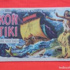 Foglietti di film di film antichi di cinema: KON TIKI, IMPECABLE SENCILLO, PORTADA JANO, CON PUBLI MONTERROSA. Lote 136496598
