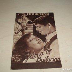 Cine: ALMA DE BAILARINA - JOAN CRAWFORD, CLARK GABLE- TEATRO PRINCIPAL 1934. Lote 136560290