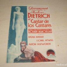 Cine: EL CANTAR DE LOS CANTARES, MARLENE DIETRICH , DOBLE , PARAMOUNT- 1934. Lote 136564758