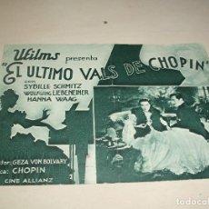 Cine: EL ULTIMO VALS DE CHOPIN, DOBLE AÑOS 30, SYBILLE SCHMITZ, TEATRO PRINCIPAL. Lote 136584102