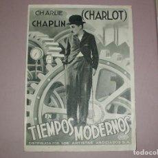 Cine: TIEMPOS MODERNOS, CHARLES CHAPLIN, GRANDE Y EN BUEN ESTADO. Lote 136682694