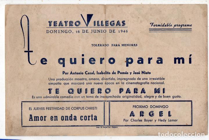Cine: Te quiero para mi. Año 1946. Antonio Casal, Isabelita de Pomés, José Nieto, Pepe Isbert... - Foto 2 - 136708902