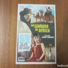 Cine: PROGRAMA DE CINE FOLLETO DE MANO -LA LLAMADA DE AFRICA- AÑOS 50 SIN PUBLICIDAD . Lote 136878478