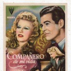 Cine: COMPAÑERO DE MI VIDA. GINGER ROGERS Y ROBERT RYAN.. Lote 137154938