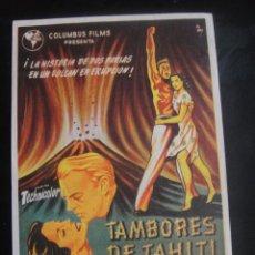 Cine: TAMBORES DE TAHITI - CINE GOYA , ZARAGOZA. Lote 137187446