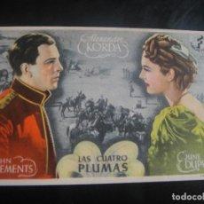 Cine: LAS CUATRO PLUMAS - CINE CASINO - MASNOU. Lote 137187626