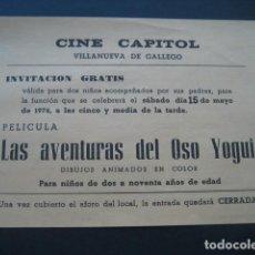 Cine: LAS AVENTURAS DEL OSO YOGUI. CINE CAPITOL. VILLANUEVA DE GALLEGO, ZARAGOZA 1976. Lote 188815925