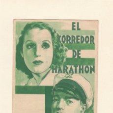 Cine: EL CORREDOR DE MARATHON. PROGRAMA DE CINE DOBLE. SIN PUBLICIDAD.. Lote 137714426