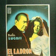 Cine: EL LADRON DE CADAVERES-WALLACE FORD-BELA LUGOSI-SUSANA WALTERS-CINE ECONOMICO-PALAMOS-1944-MUY RARO.. Lote 138049390
