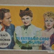 Cine: EL EXTRAÑO CASO DEL DR. JEKILL. SPENCER TRACY, INGRID BERGMAN, LANA TURNER. CON PUBLICIDAD.. Lote 138094694