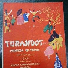 Cine: TURANDOT PRINCESA DE CHINA 1936 KATE DE NAGY Y WILLY FRITSCH UFA BIEN CONSERVADO VER FOTOS PUBLICIDA. Lote 138275034