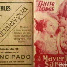 Cine: DE MAYERLING A SARAJEVO- DOBLE- PUBLICIDAD MUEBLES RIBALAYDUA- CINE PRINCIPADO. Lote 138648578