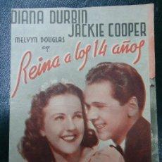 Cinema - REINA A LOS 14 AÑOS 1941 DIANA DURBIN Y JACKIE COOPER NUEVA UNIVERSAL DIPTICO BIEN CONSERVADO Ver - 138697218