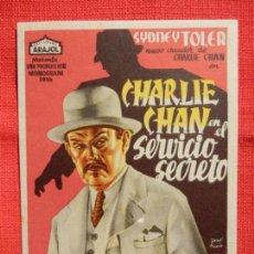 Cine: CHARLIE CHAN EN EL SERVICIO SECRETO, SENCILLO ORIGINAL ARAJOL, EXCELENTE ESTADO. Lote 138697754