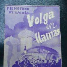Cine: VOLGA EN LLAMAS 1935 TOUR JANSKY, INKIJINOFF Y DANIELLE DARRIUY FILMOFONO DIPTICO BIEN CONSERVADO . Lote 138803530