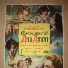 Cine: EL GRAN AMOR DE ANA AMON - PROGRAMA CARTEL DE 23,5 X 34,5 CM. Lote 138820442