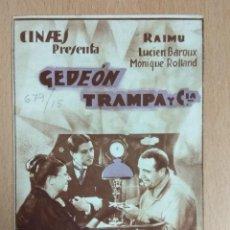 Cine: GEDEON TRAMPA Y CIA - PROGRAMA DE MANODO DOBLE CON PUBLICIDAD.. Lote 138820690