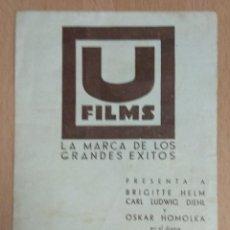 Cine: ESPIAS EN ACCION (1936) - PROGRAMA DE MANODO DOBLE CON PUBLICIDAD.. Lote 138820786