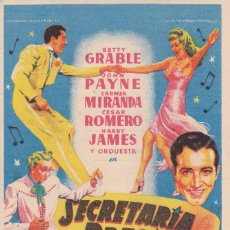 Cine: SECRETARIA BRASILEÑA BETTY GRABLE, JOHN PAYNE, CARMEN MIRANDA, CESAR ROMERO AÑO 1952 CON PUBLICIDAD. Lote 138846206