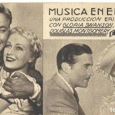 Cine: PTEB 038 MUSICA EN EL AIRE PROGRAMA TARJETA FOX GLORIA SWANSON JOHN BOLES . Lote 139031570