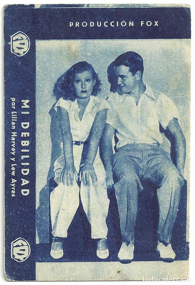 PTEB 038 MI DEBILIDAD PROGRAMA TARJETA FOX LILIAN HARVEY LEW AYRES C (Cine - Folletos de Mano - Musicales)