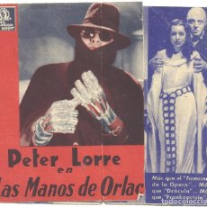 Cine: PTCC 024 LAS MANOS DE ORLAC PROGRAMA DOBLE MGM PETER LORRE FRANCES DRAKE. Lote 139098342