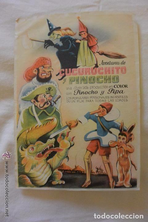 FOLLETO MANO CINE AVENTURAS CUCURUCHITO Y PINOCHO (Cine - Folletos de Mano - Infantil)
