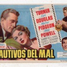 Cine: CAUTIVOS DEL MAL. AÑO 1955. LAN TURNER, KIRK DOUGLAS, WALTER PIDGEON, DICK POWEL.... Lote 139497294
