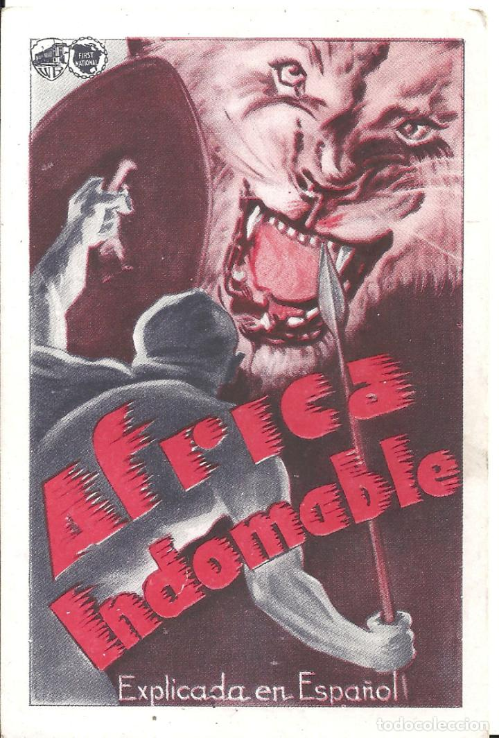 PTEB 039 AFRICA INDOMABLE PROGRAMA TARJETA WARNER DOCUMENTAL (Cine - Folletos de Mano - Documentales)
