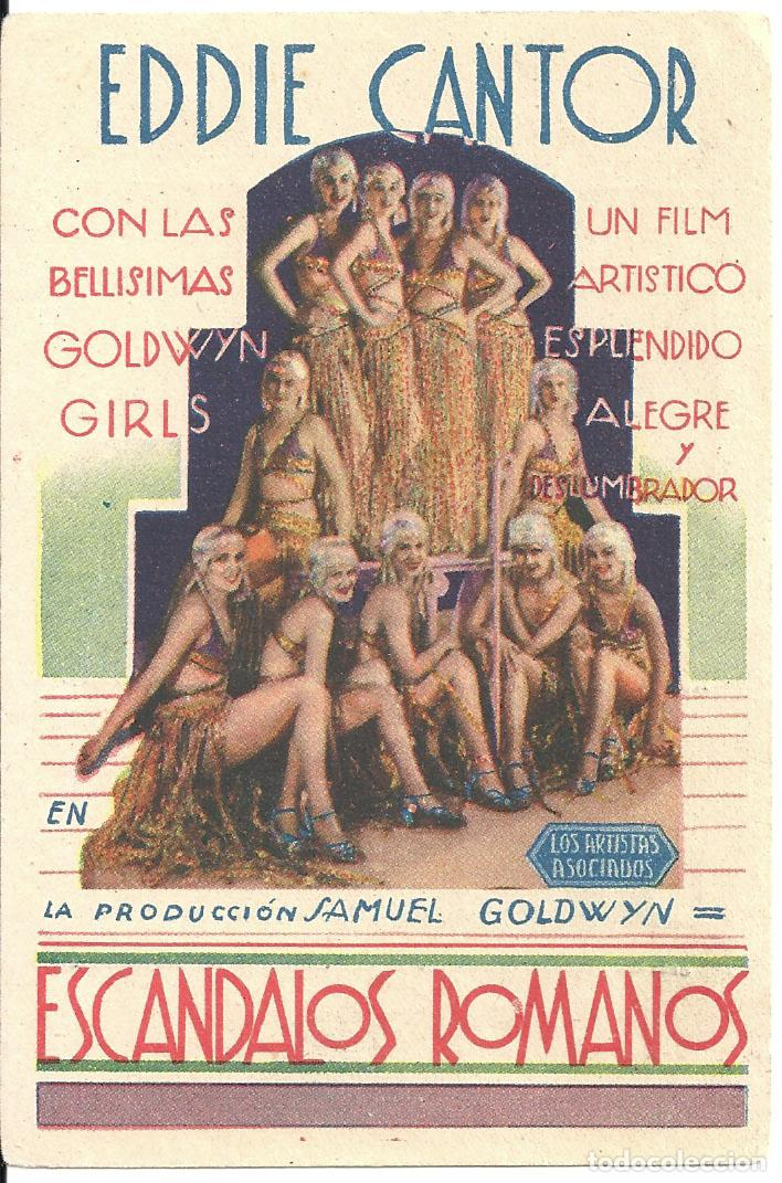 PTEB 039 ESCANDALOS ROMANOS PROGRAMA TARJETA ARTISTAS ASOCIADOS EDDIE CANTOR PAULETTE GODDARD (Cine - Folletos de Mano - Musicales)