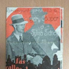 Cine: LAS CALLES DE LA CIUDAD - 1932 - PROGRAMA DOBLE SIN PUBLICIDAD.. Lote 139576470