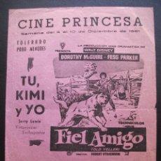 Cine: FIEL AMIGO, DOROTHY MCGUIRE, PROGRAMA LOCAL DEL CINE PRINCESA DE VALENCIA, 1961. Lote 139596982