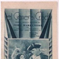 Cine: EL GENERAL CRACK - JOHN BARRYMORE - DOBLE CON PUBLICIDAD MANUSCRITA TEATRO KURSAAL DE ELCHE. Lote 139656474