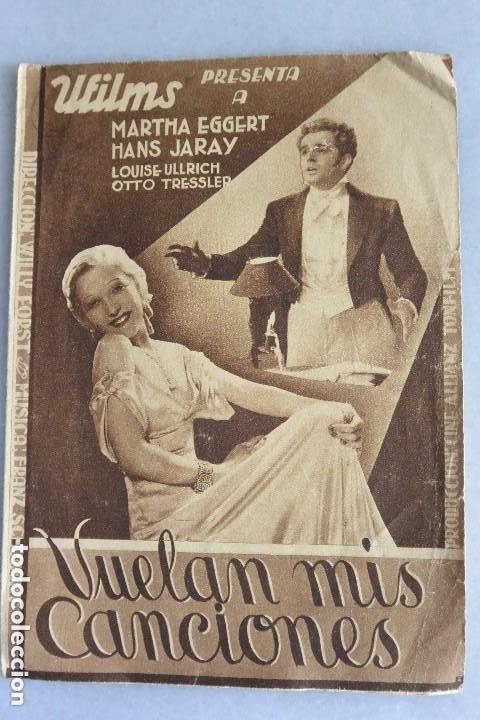 PROGRAMA CINE DOBLE VUELAN MIS CANCIONES.1934 (Cine - Folletos de Mano - Musicales)