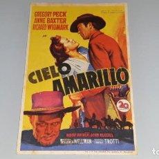Cine: ANTIGUO PROGRAMA DE CINE CIELO AMARILLO - GREGORY PECK - CINE AVENIDA ALICANTE AÑO 1949. Lote 139815862