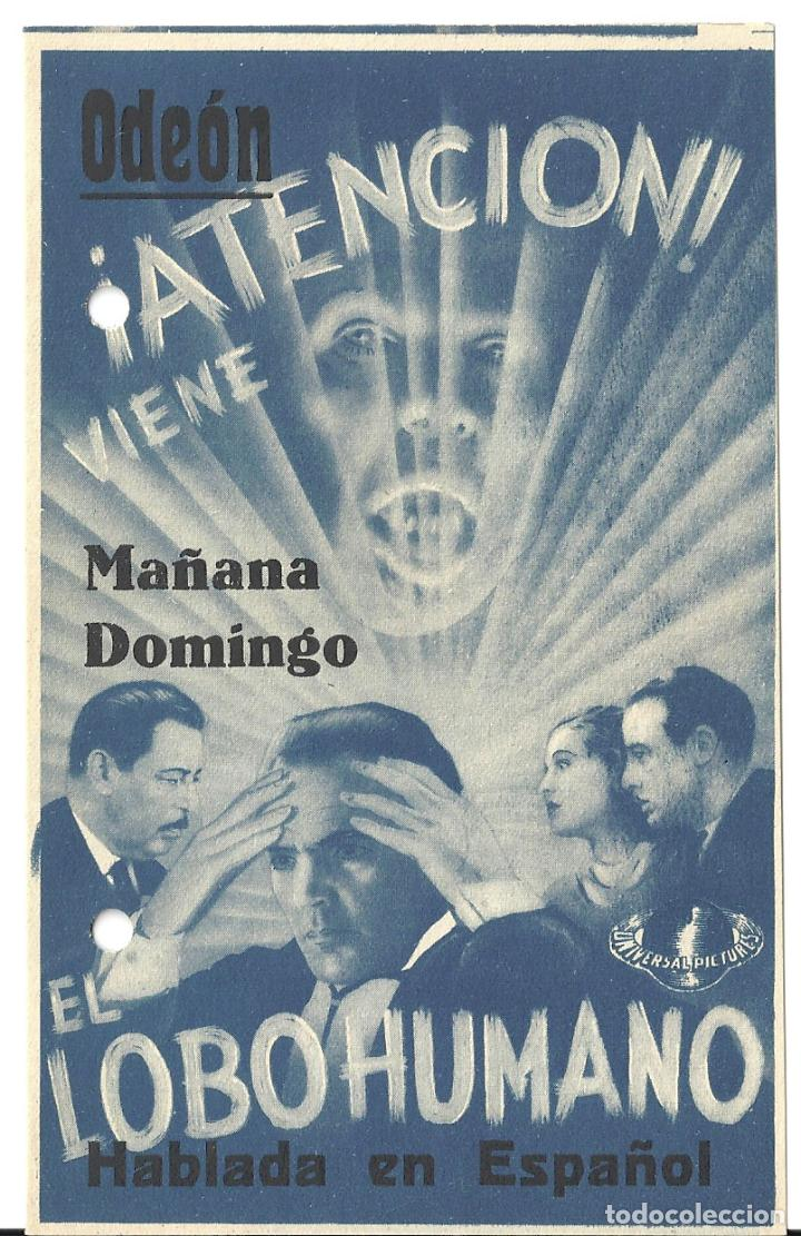 PTEB 040 EL LOBO HUMANO PROGRAMA DOBLE UNIVERSAL HENRY HULL WARNER OLAND UNIVERSAL TERROR (Cine - Folletos de Mano - Terror)