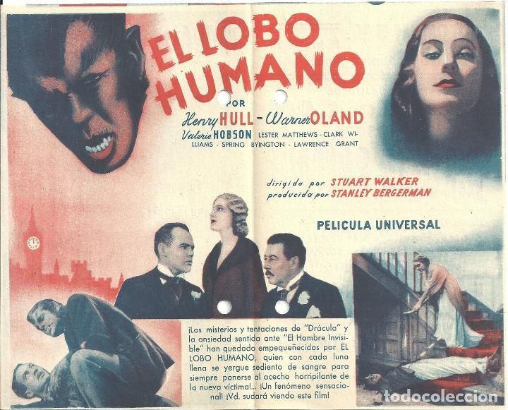 Cine: PTEB 040 EL LOBO HUMANO PROGRAMA DOBLE UNIVERSAL HENRY HULL WARNER OLAND UNIVERSAL TERROR - Foto 2 - 139858762