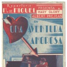 Cine: PTEB 040 UNA AVENTURA AMOROSA PROGRAMA DOBLE M DE MIGUEL MARY GLORY ALBERT PREJEAN. Lote 139881974