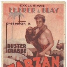 Cine: PTEB 040 TARZAN DE LAS FIERAS PROGRAMA DOBLE FEBRER Y BLAY BUSTER CRABBE. Lote 139882386