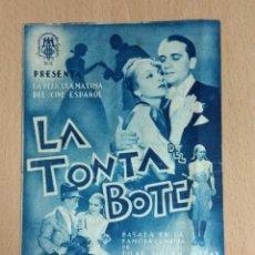 Cine: LA TONTA DEL BOTE - PROGRAMA DOBLE DE MANO CON PUBLICIDAD. Lote 139899794