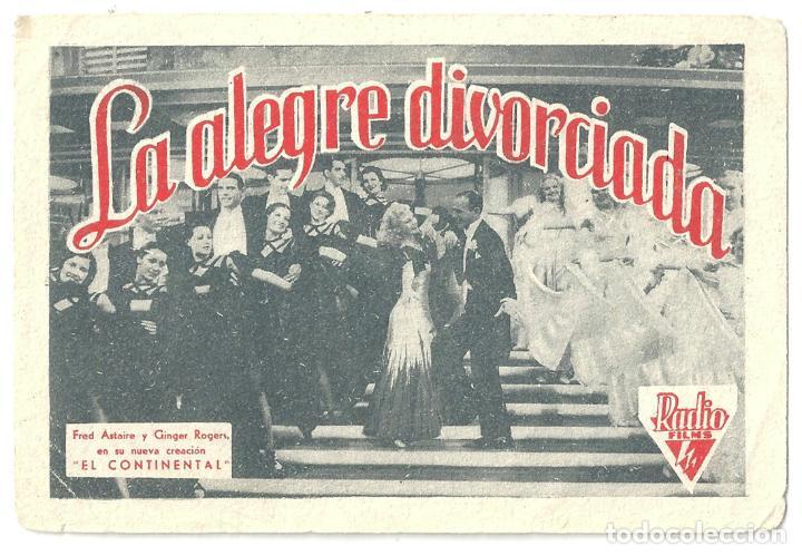 PTEB 043 LA ALEGRE DIVORCIADA PROGRAMA TARJETA RADIO FILMS FRED ASTAIRE GINGER ROGERS (Cine - Folletos de Mano - Musicales)