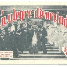 Cine: PTEB 043 LA ALEGRE DIVORCIADA PROGRAMA TARJETA RADIO FILMS FRED ASTAIRE GINGER ROGERS. Lote 140012166
