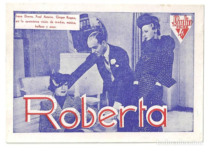 PTEB 043 ROBERTA PROGRAMA TARJETA RADIO FILMS FRED ASTAIRE GINGER ROGERS IRENE DUNNE RANDOLPH SCOTT (Cine - Folletos de Mano - Musicales)