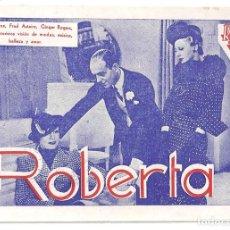 Cine: PTEB 043 ROBERTA PROGRAMA TARJETA RADIO FILMS FRED ASTAIRE GINGER ROGERS IRENE DUNNE RANDOLPH SCOTT. Lote 140012634