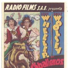 Cine: PTEB 043 CABALLEROS DE CAPA Y ESPADA PROGRAMA TARJETA RADIO FILMS BERT WHEELER ROBT WOOLSEY. Lote 140014802