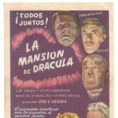 Cine: PTEB 043 LA MANSION DE DRACULA PROGRAMA SENCILLO CIFESA LON CHANEY JR. JOHN CARRADINE. Lote 140016922