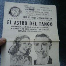 Cine: EL ASTRO DEL TANGO, COMEDIA MUSICAL ARGENTINA CON HUGO DEL CARRIL Y AMANDA LEDESMA OROLEY FILMS DOB. Lote 140023758